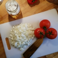 Getting the Mise En Place in order with a bit of bourbon...of course